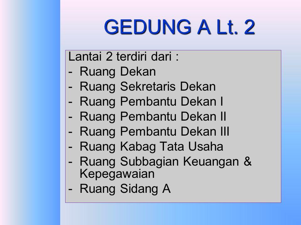 GEDUNG A Lt. 2 Lantai 2 terdiri dari : Ruang Dekan