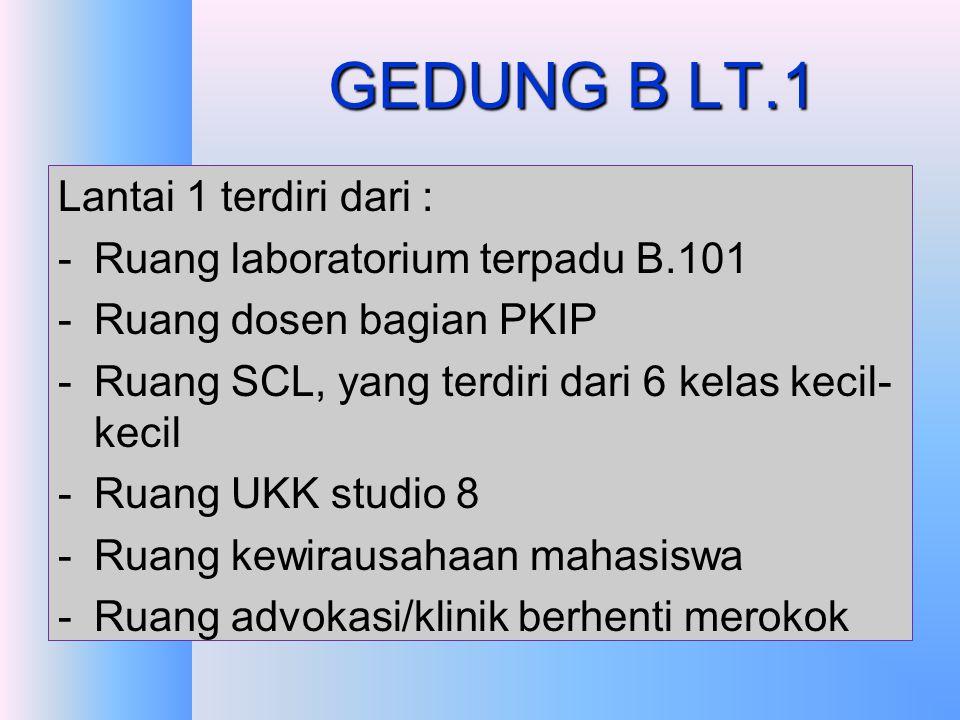 GEDUNG B LT.1 Lantai 1 terdiri dari : Ruang laboratorium terpadu B.101