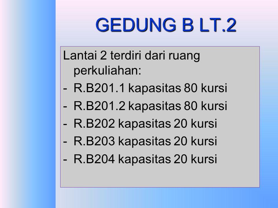 GEDUNG B LT.2 Lantai 2 terdiri dari ruang perkuliahan: