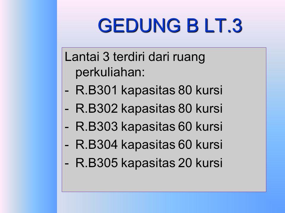 GEDUNG B LT.3 Lantai 3 terdiri dari ruang perkuliahan: