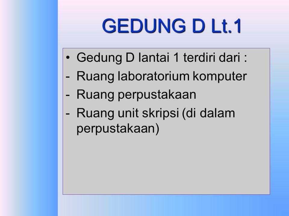 GEDUNG D Lt.1 Gedung D lantai 1 terdiri dari :
