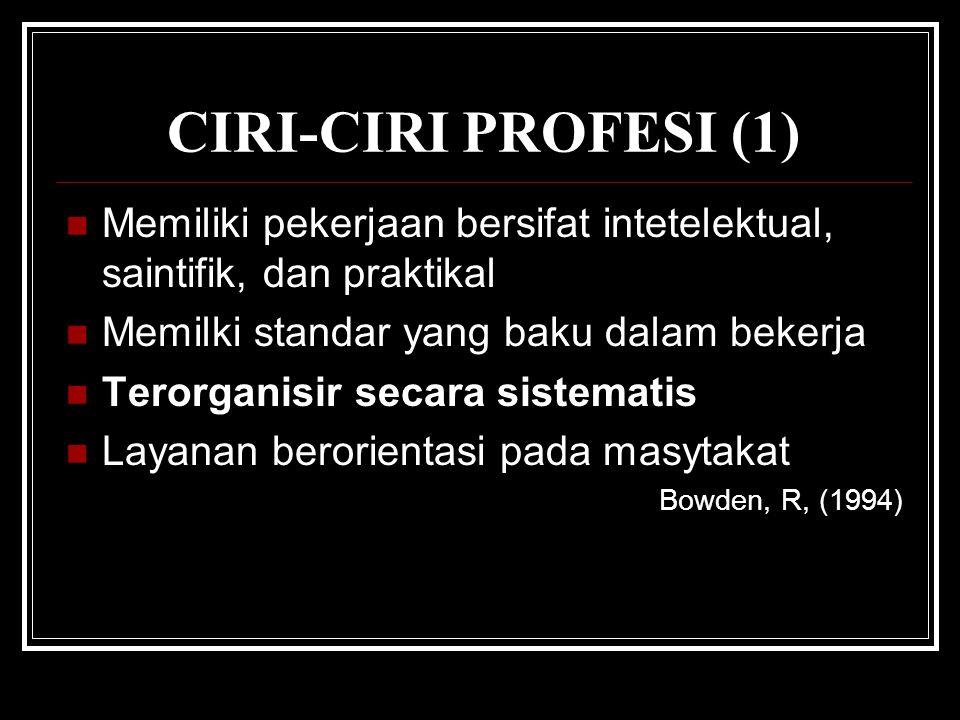 CIRI-CIRI PROFESI (1) Memiliki pekerjaan bersifat intetelektual, saintifik, dan praktikal. Memilki standar yang baku dalam bekerja.
