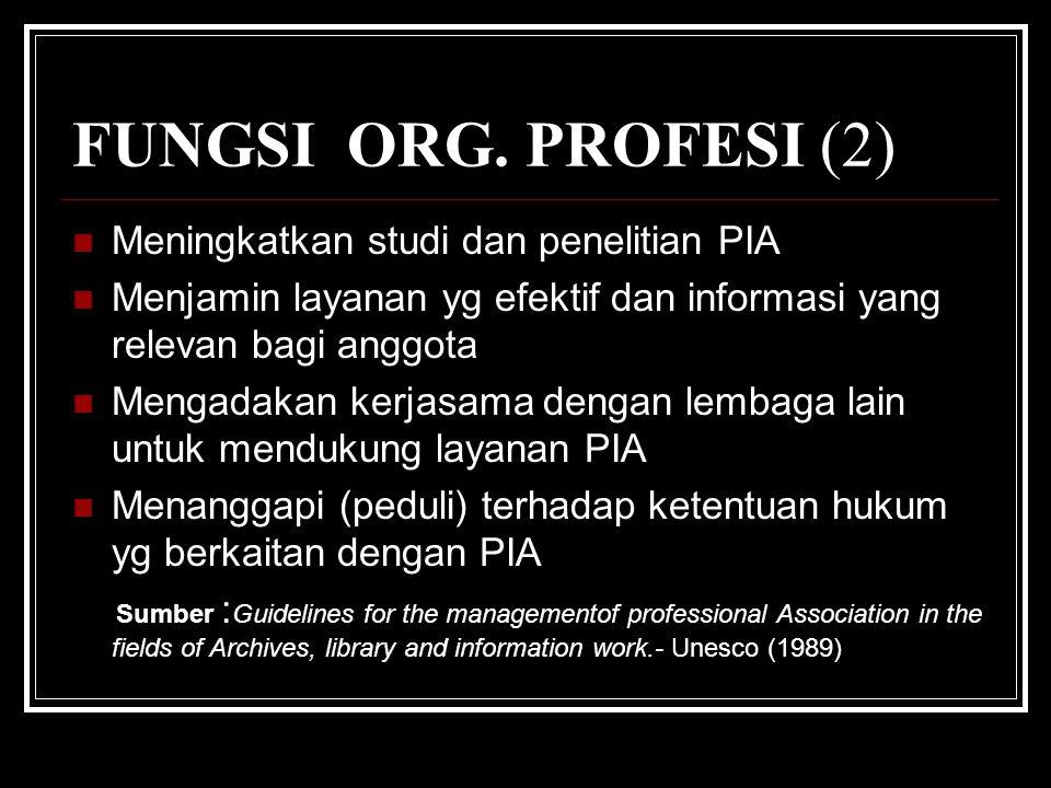 FUNGSI ORG. PROFESI (2) Meningkatkan studi dan penelitian PIA