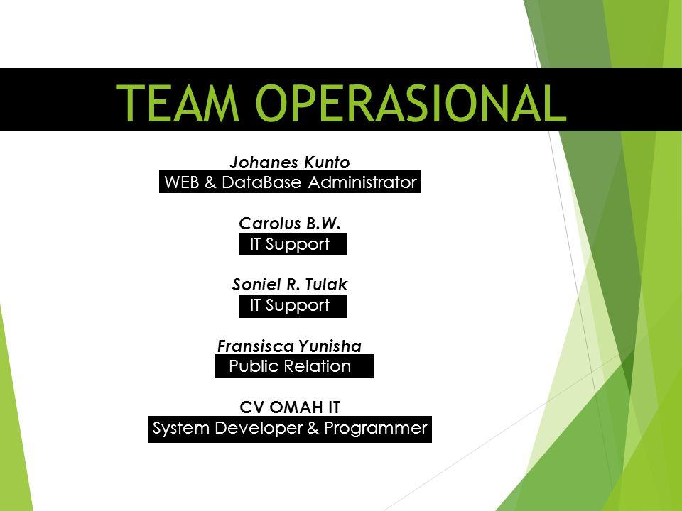TEAM OPERASIONAL Johanes Kunto WEB & DataBase Administrator