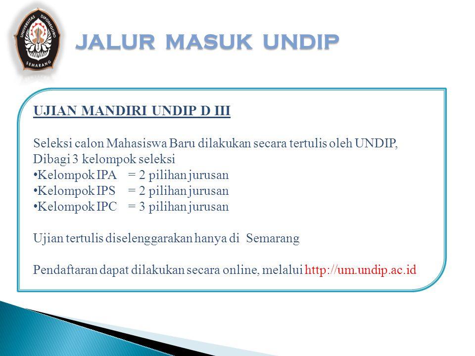 JALUR MASUK UNDIP UJIAN MANDIRI UNDIP D III
