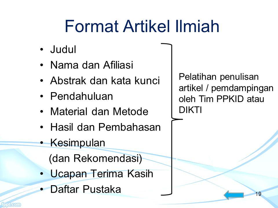 Format Artikel Ilmiah Judul Nama dan Afiliasi Abstrak dan kata kunci