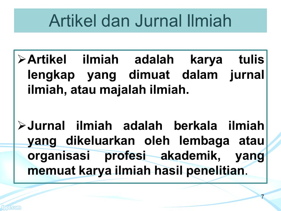 Artikel dan Jurnal Ilmiah
