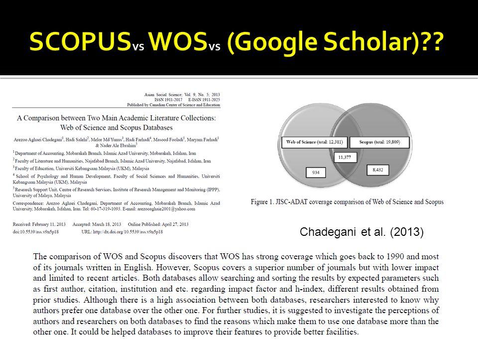 SCOPUSvs WOSvs (Google Scholar)