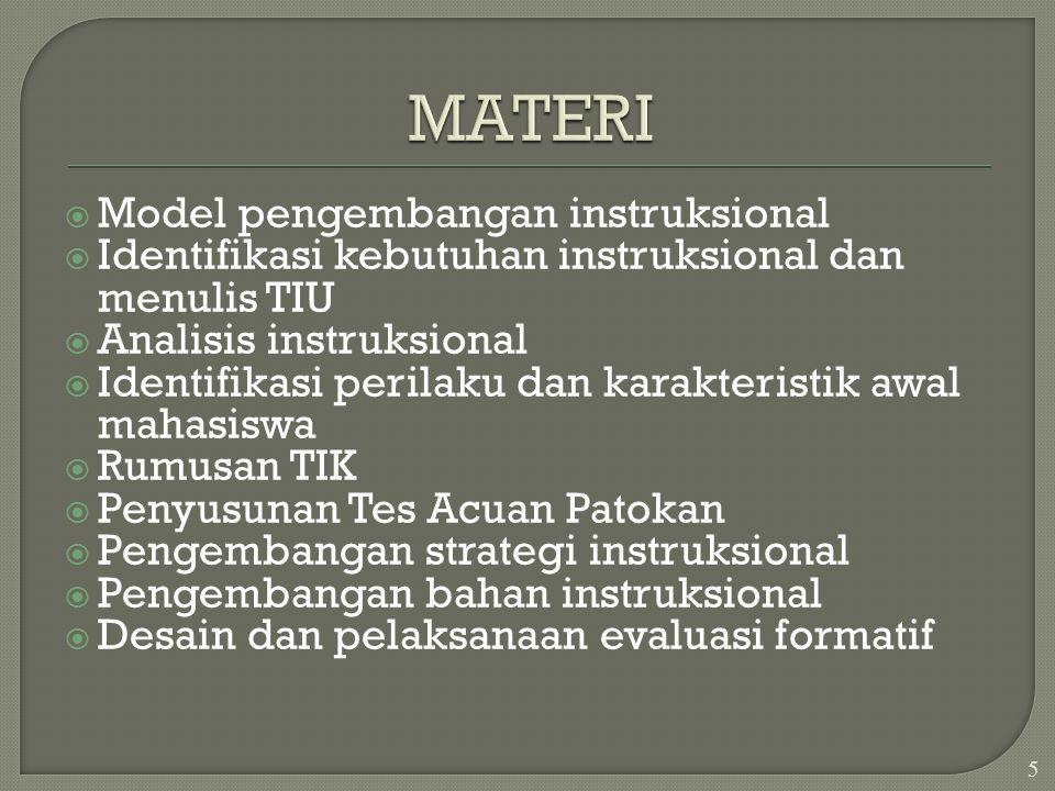 MATERI Model pengembangan instruksional