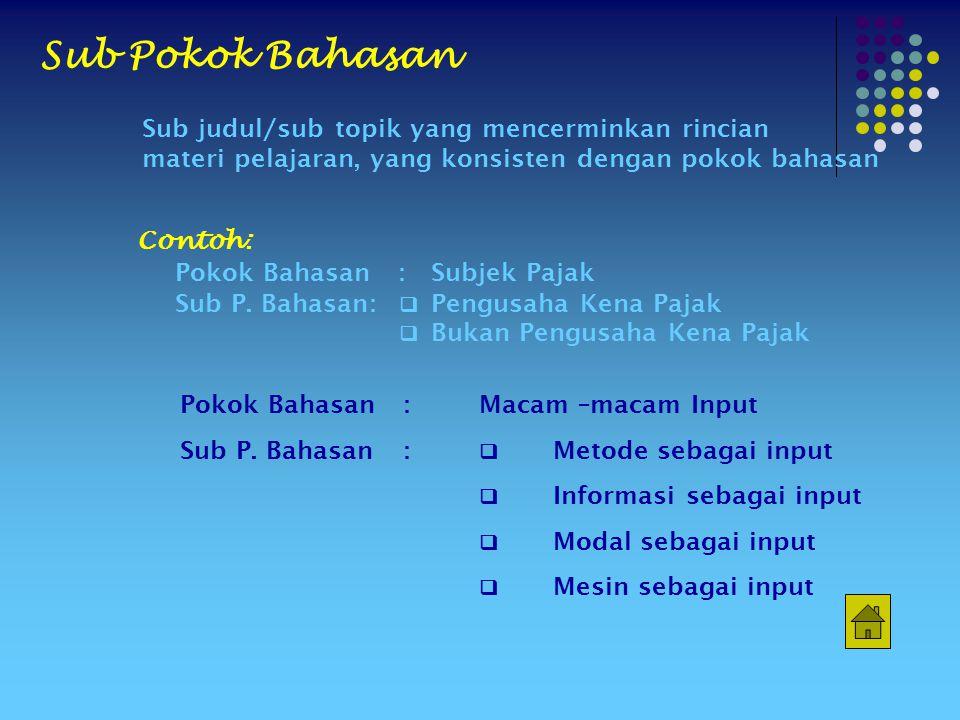 Sub Pokok Bahasan Sub judul/sub topik yang mencerminkan rincian