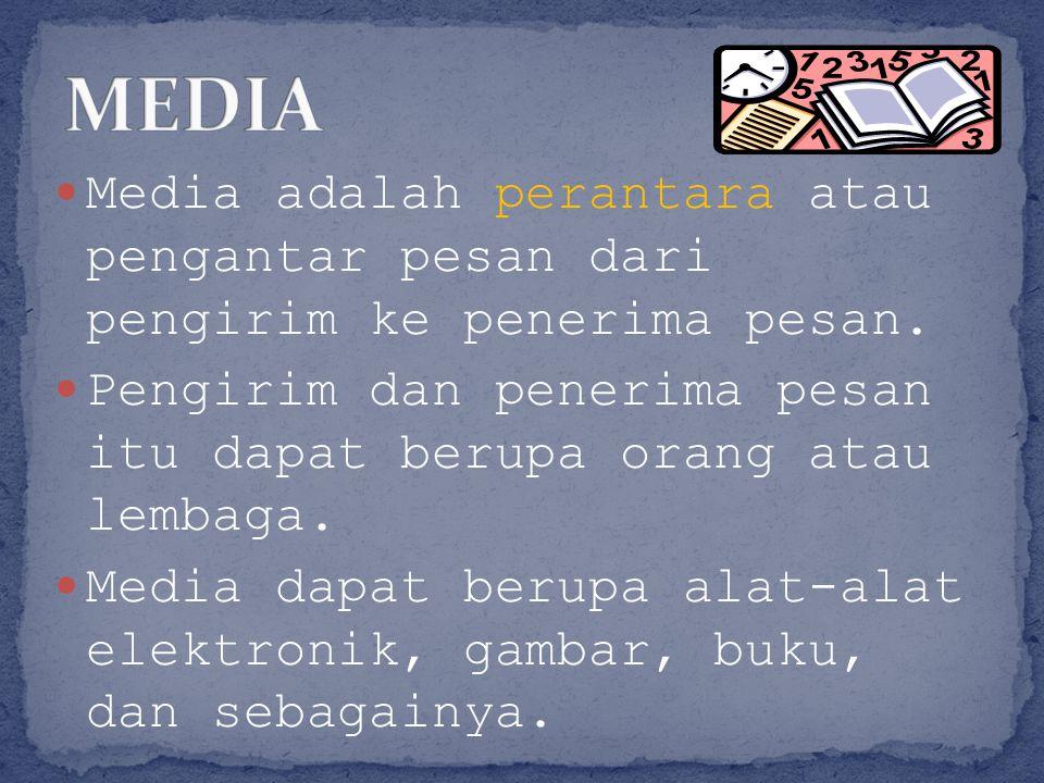 MEDIA Media adalah perantara atau pengantar pesan dari pengirim ke penerima pesan.