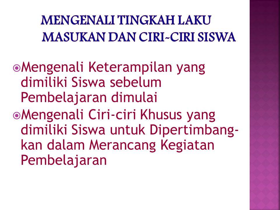 MENGENALI TINGKAH LAKU MASUKAN DAN CIRI-CIRI SISWA