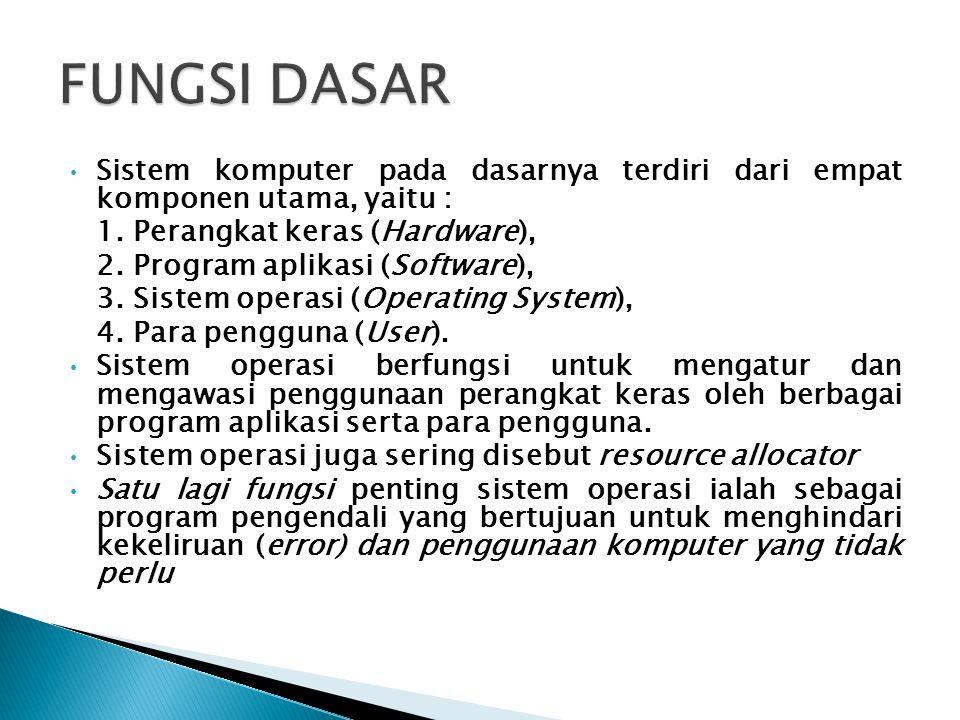 FUNGSI DASAR Sistem komputer pada dasarnya terdiri dari empat komponen utama, yaitu : 1. Perangkat keras (Hardware),