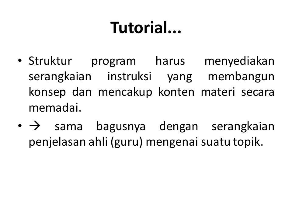 Tutorial... Struktur program harus menyediakan serangkaian instruksi yang membangun konsep dan mencakup konten materi secara memadai.