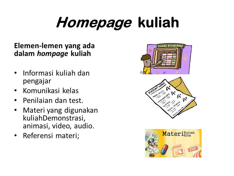 Homepage kuliah Elemen-lemen yang ada dalam hompage kuliah