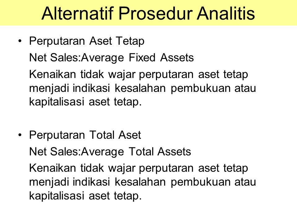 Alternatif Prosedur Analitis