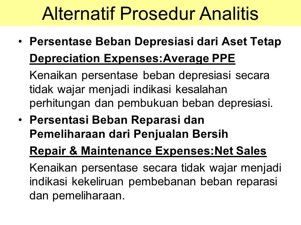 Alternatif Prosedur Analitis