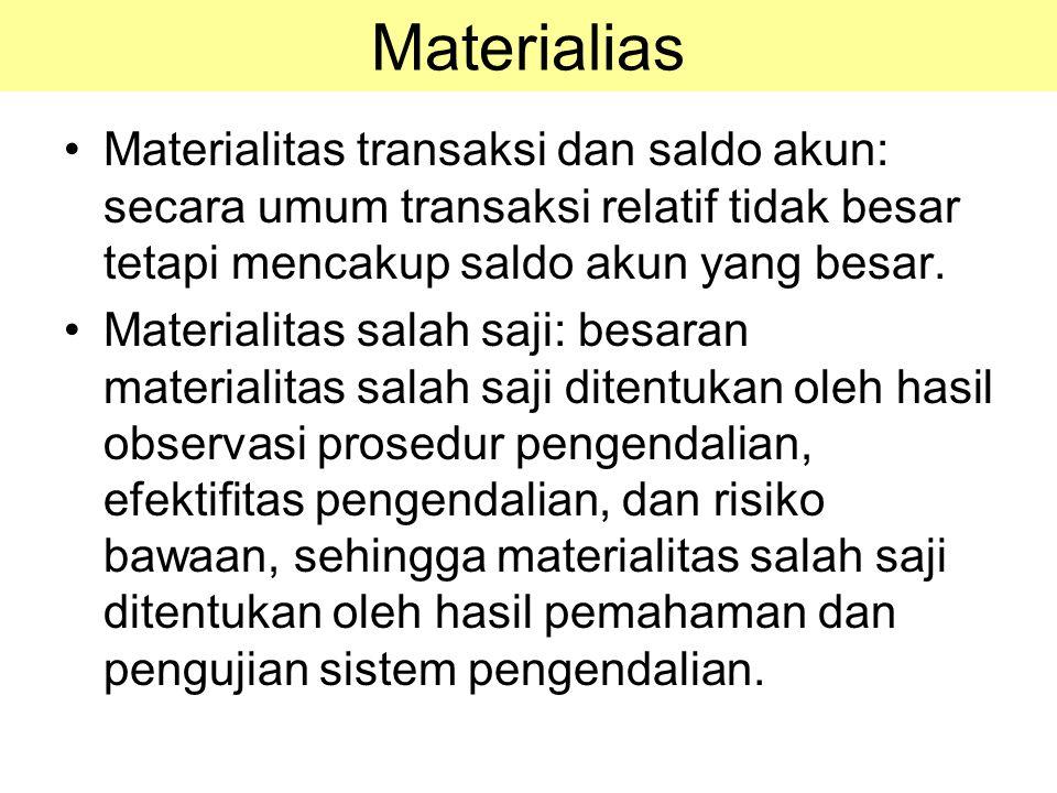 Materialias Materialitas transaksi dan saldo akun: secara umum transaksi relatif tidak besar tetapi mencakup saldo akun yang besar.