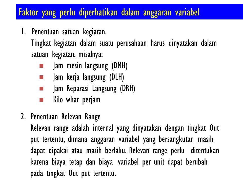 Faktor yang perlu diperhatikan dalam anggaran variabel