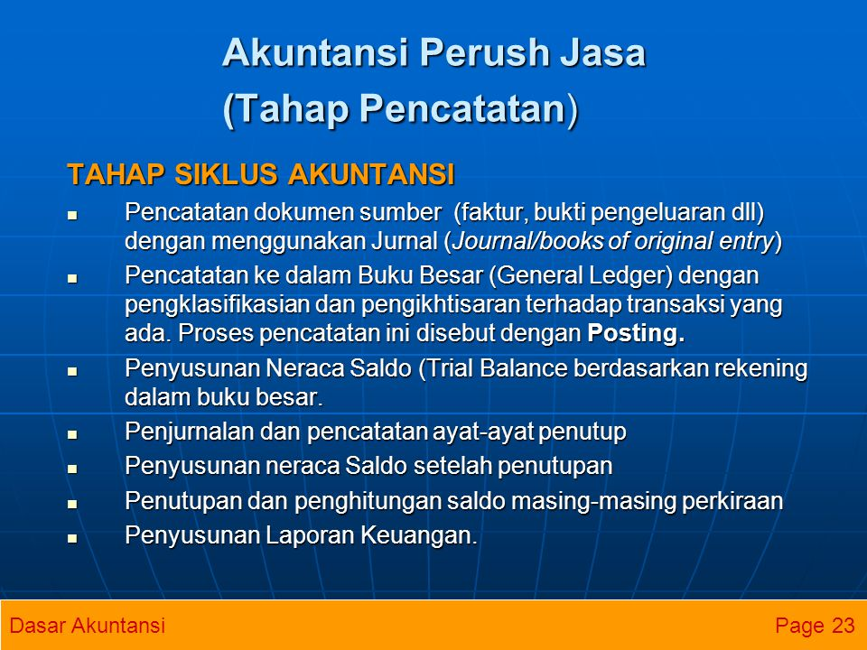 Akuntansi Perush Jasa (Tahap Pencatatan)