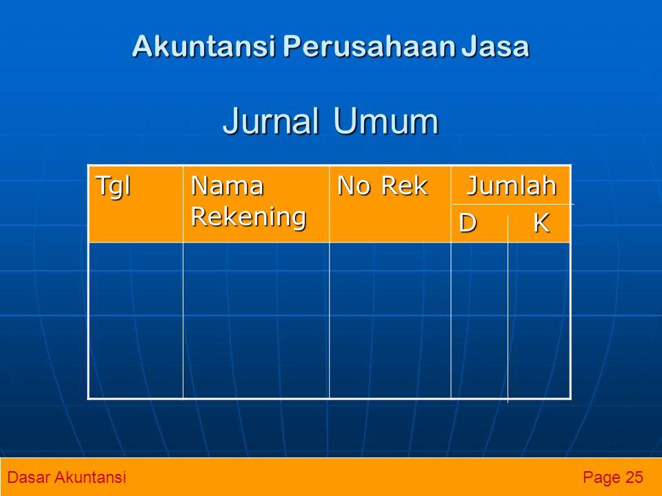 Akuntansi Perusahaan Jasa Jurnal Umum