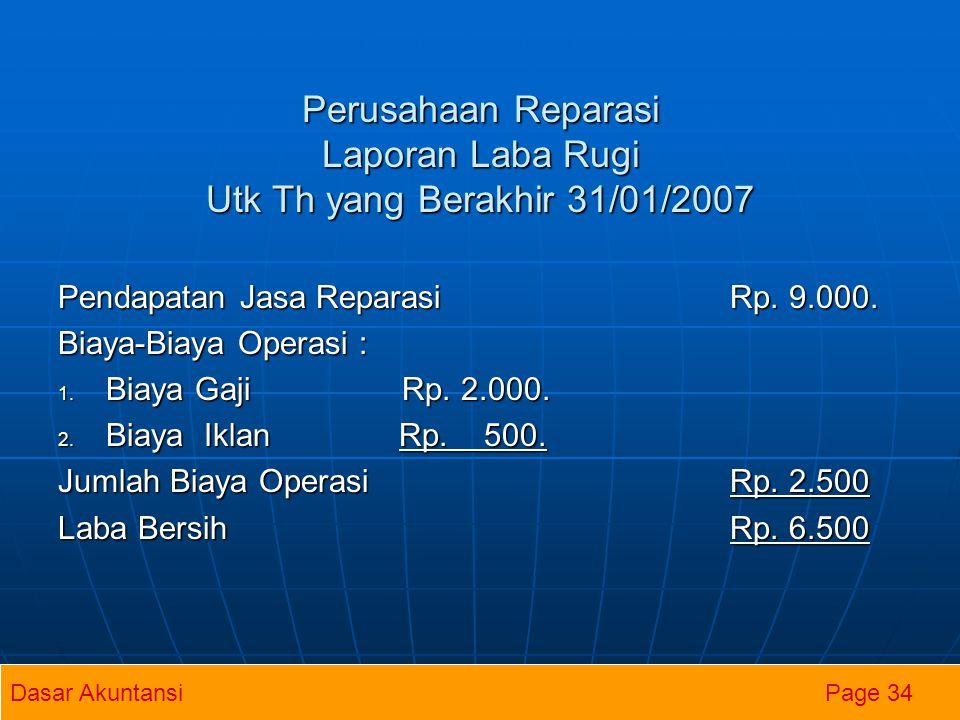 Perusahaan Reparasi Laporan Laba Rugi Utk Th yang Berakhir 31/01/2007