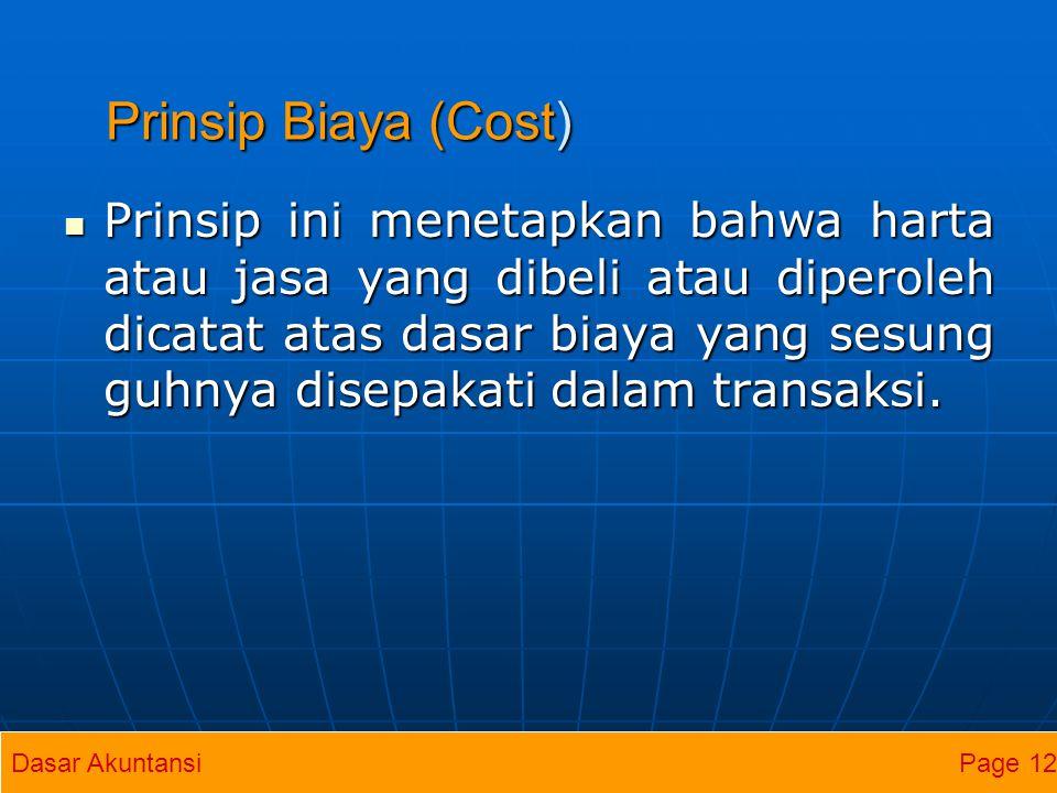 Prinsip Biaya (Cost)