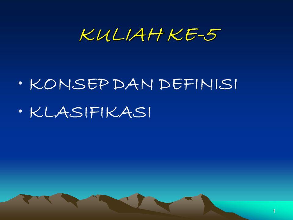 KULIAH KE-5 KONSEP DAN DEFINISI KLASIFIKASI