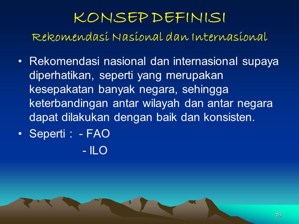 KONSEP DEFINISI Rekomendasi Nasional dan Internasional