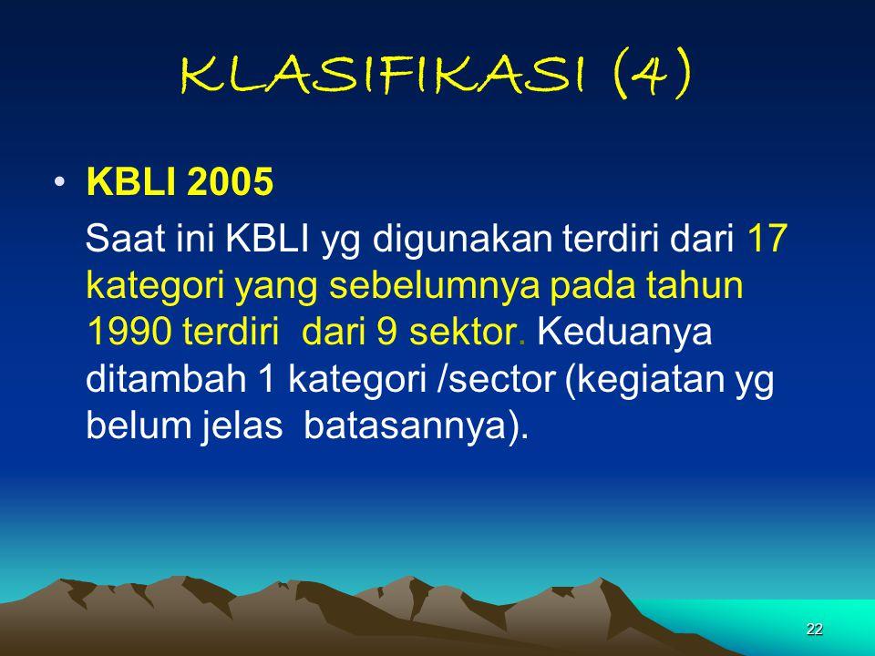KLASIFIKASI (4) KBLI 2005.