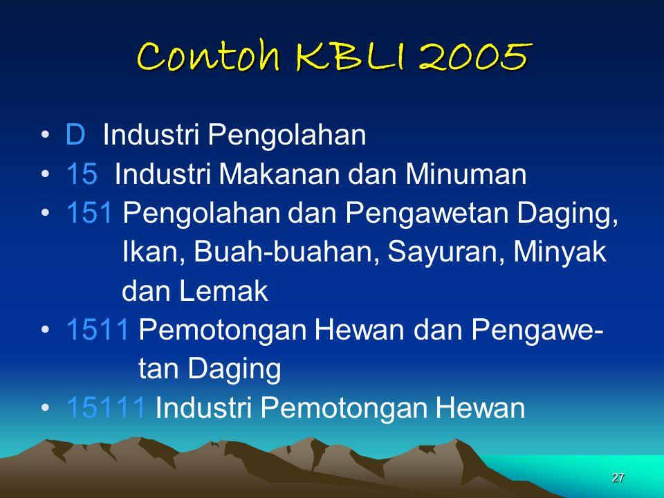 Contoh KBLI 2005 D Industri Pengolahan 15 Industri Makanan dan Minuman