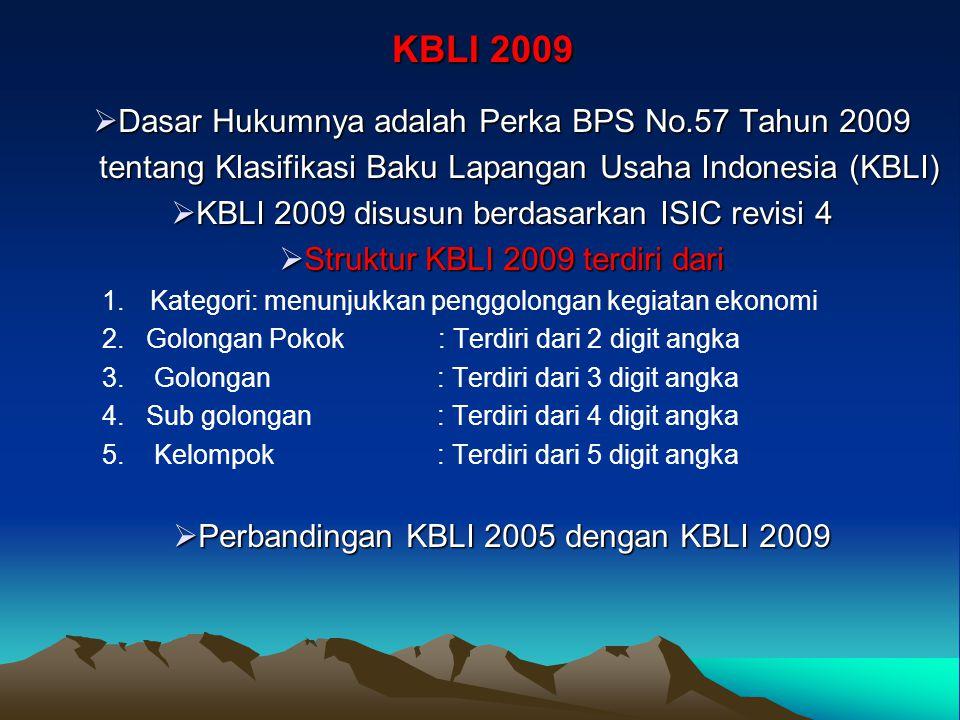 KBLI 2009 Dasar Hukumnya adalah Perka BPS No.57 Tahun 2009