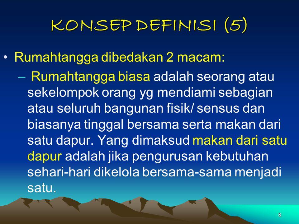 KONSEP DEFINISI (5) Rumahtangga dibedakan 2 macam: