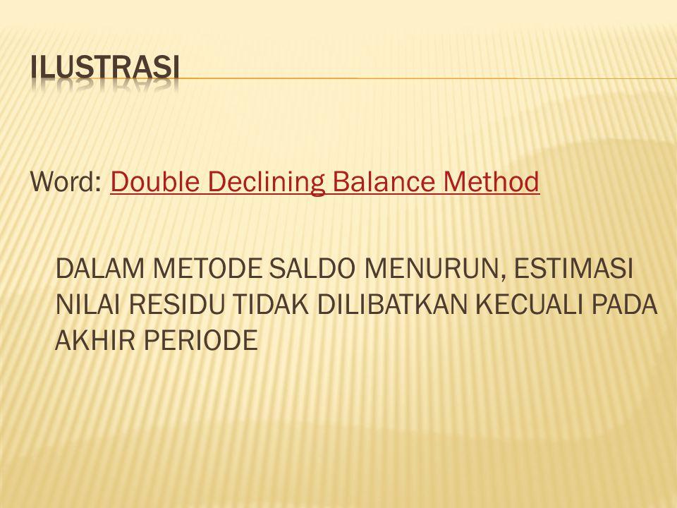 ILUSTRASI Word: Double Declining Balance Method DALAM METODE SALDO MENURUN, ESTIMASI NILAI RESIDU TIDAK DILIBATKAN KECUALI PADA AKHIR PERIODE