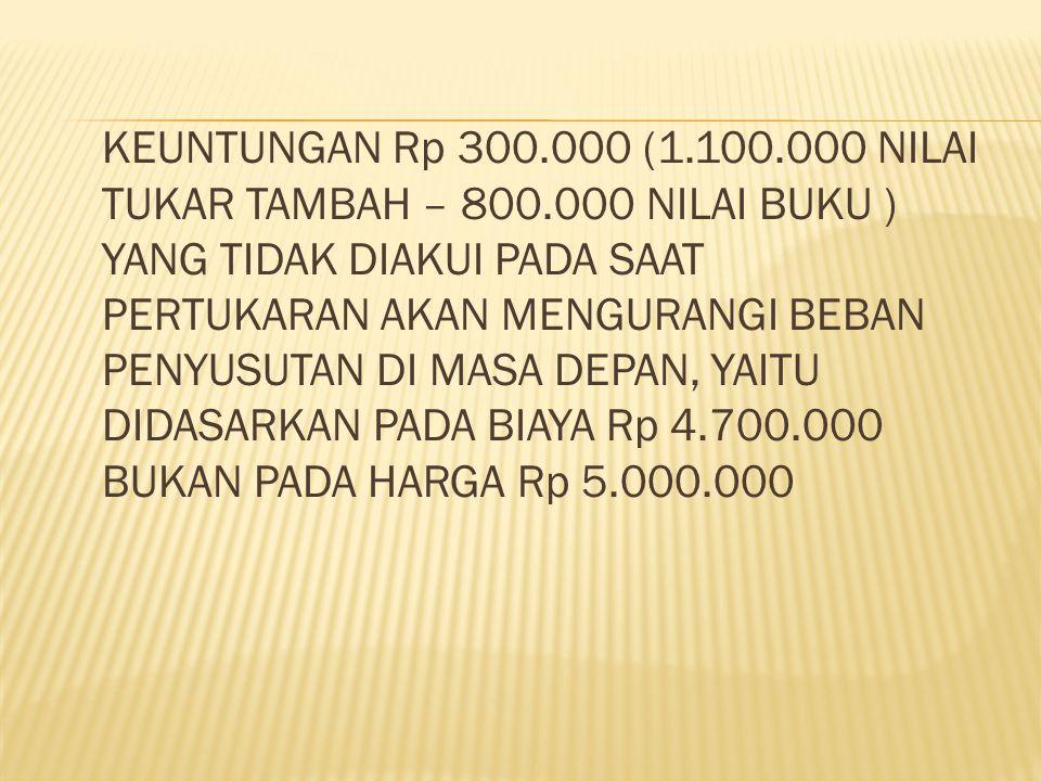 KEUNTUNGAN Rp 300. 000 (1. 100. 000 NILAI TUKAR TAMBAH – 800