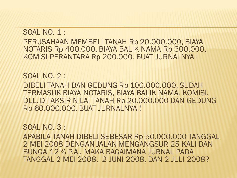 SOAL NO. 1 : PERUSAHAAN MEMBELI TANAH Rp 20. 000