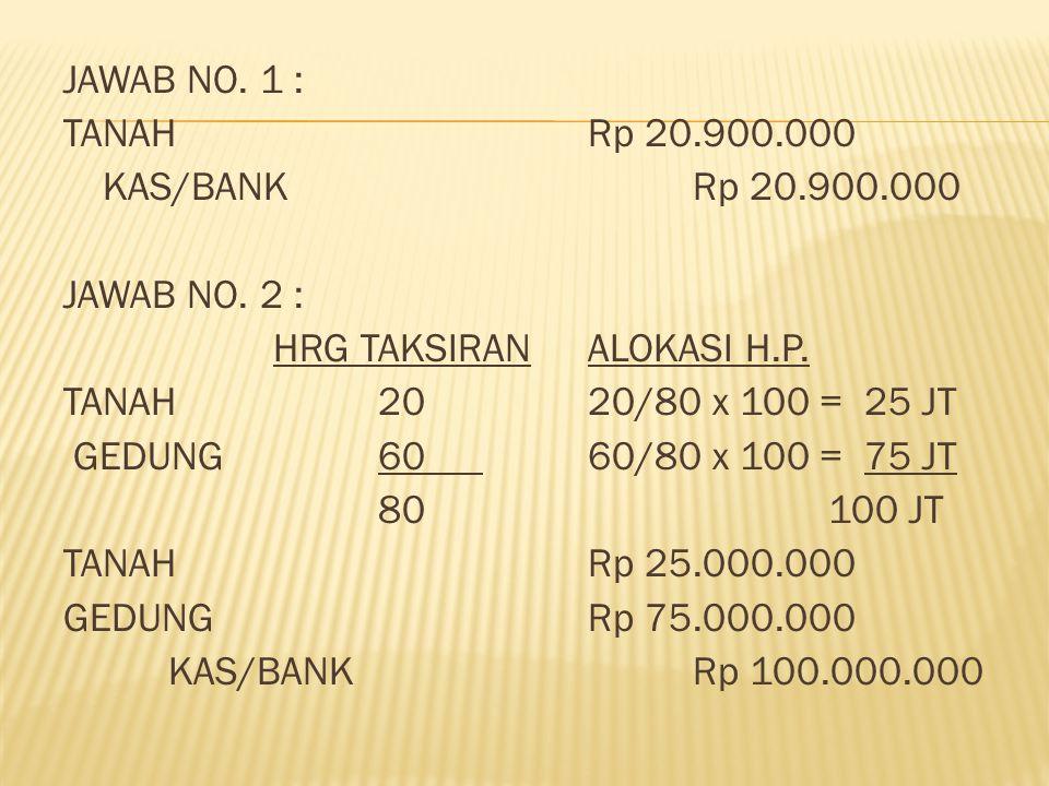 JAWAB NO. 1 : TANAH Rp 20. 900. 000 KAS/BANK Rp 20. 900. 000 JAWAB NO