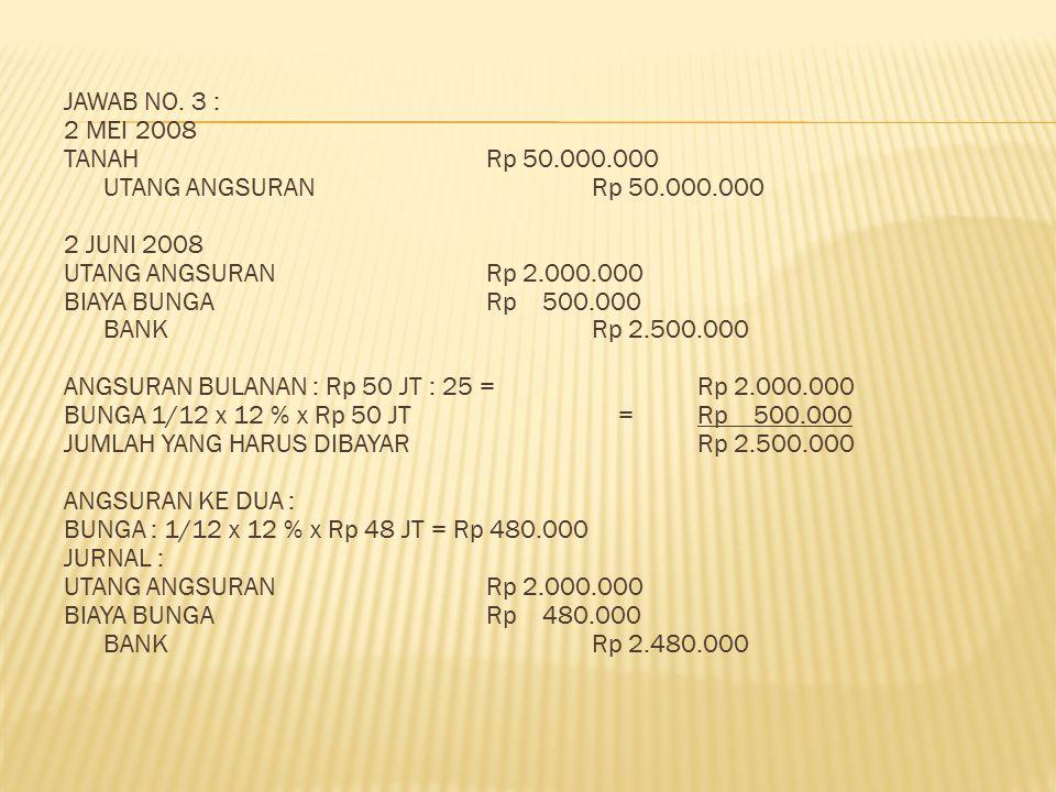 JAWAB NO. 3 : 2 MEI 2008 TANAH Rp 50. 000. 000 UTANG ANGSURAN Rp 50