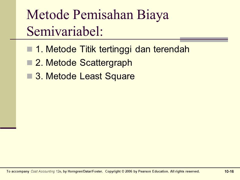 Metode Pemisahan Biaya Semivariabel: