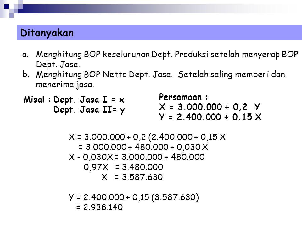 Ditanyakan Menghitung BOP keseluruhan Dept. Produksi setelah menyerap BOP Dept. Jasa.