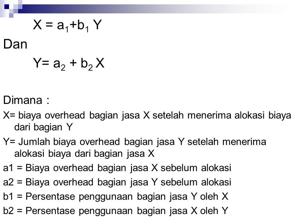 X = a1+b1 Y Dan Y= a2 + b2 X Dimana :