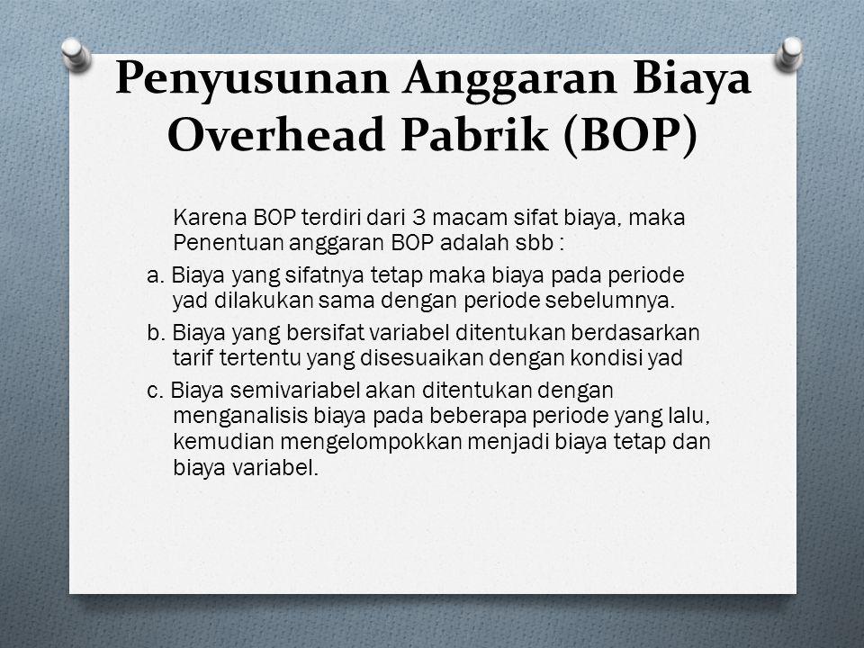 Penyusunan Anggaran Biaya Overhead Pabrik (BOP)