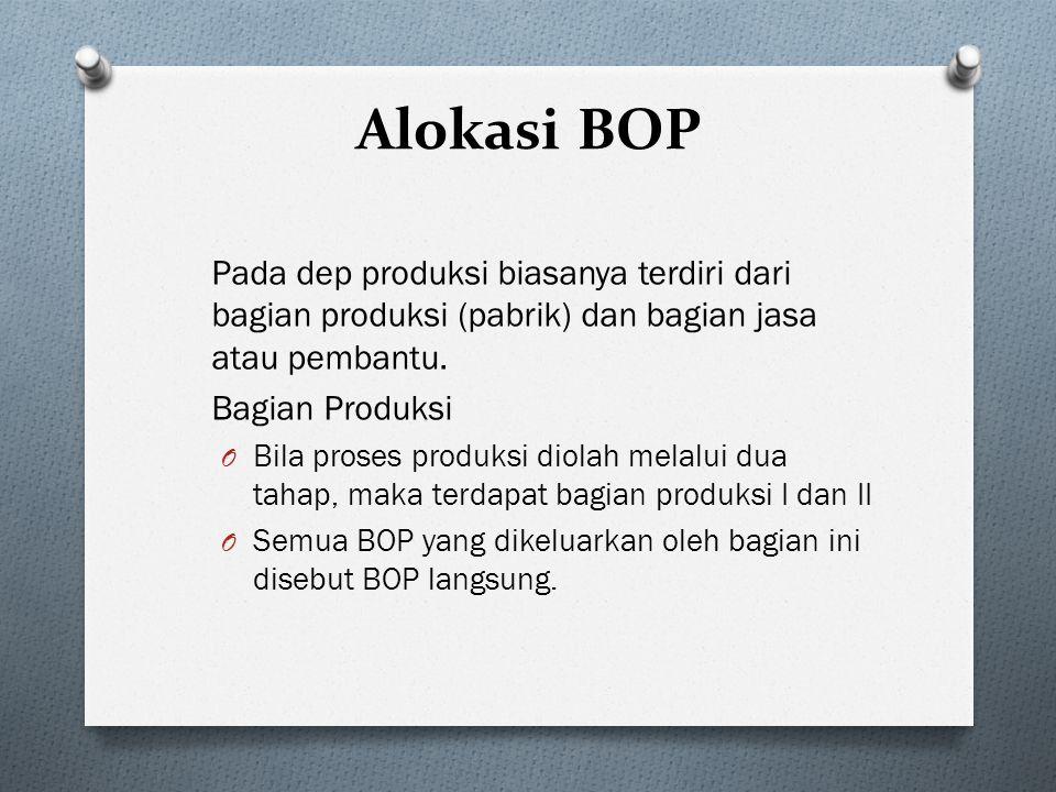 Alokasi BOP Pada dep produksi biasanya terdiri dari bagian produksi (pabrik) dan bagian jasa atau pembantu.