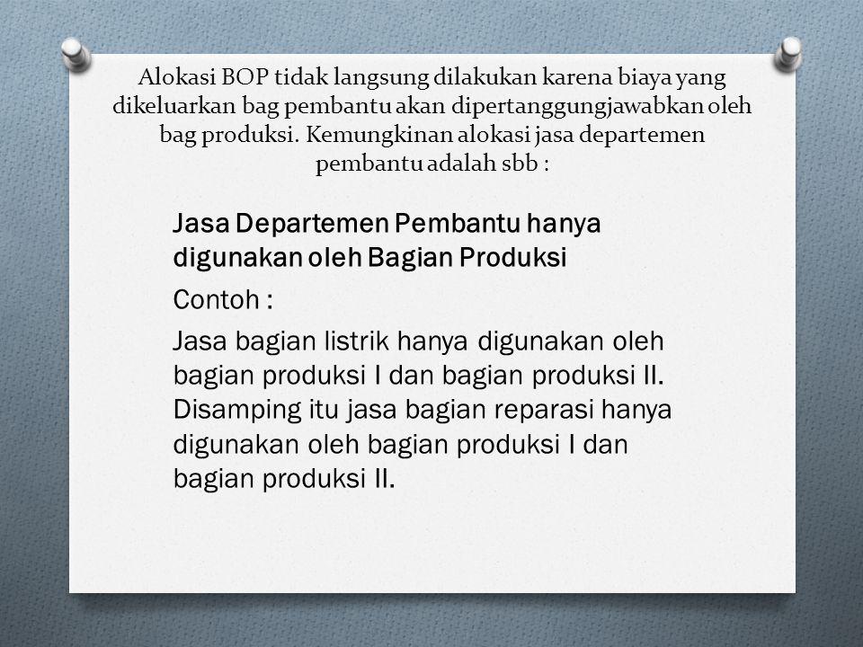 Jasa Departemen Pembantu hanya digunakan oleh Bagian Produksi Contoh :