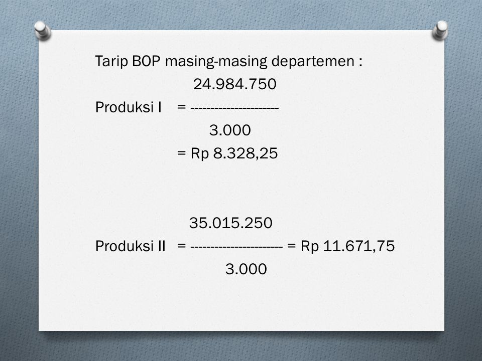 Tarip BOP masing-masing departemen :