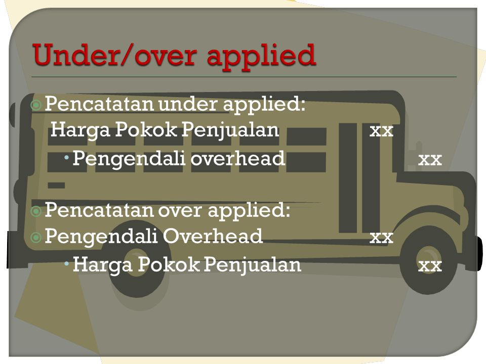 Under/over applied Pencatatan under applied: Harga Pokok Penjualan xx