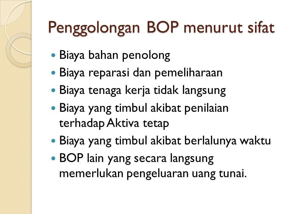 Penggolongan BOP menurut sifat