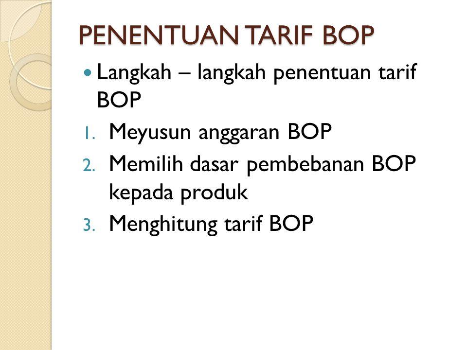 PENENTUAN TARIF BOP Langkah – langkah penentuan tarif BOP