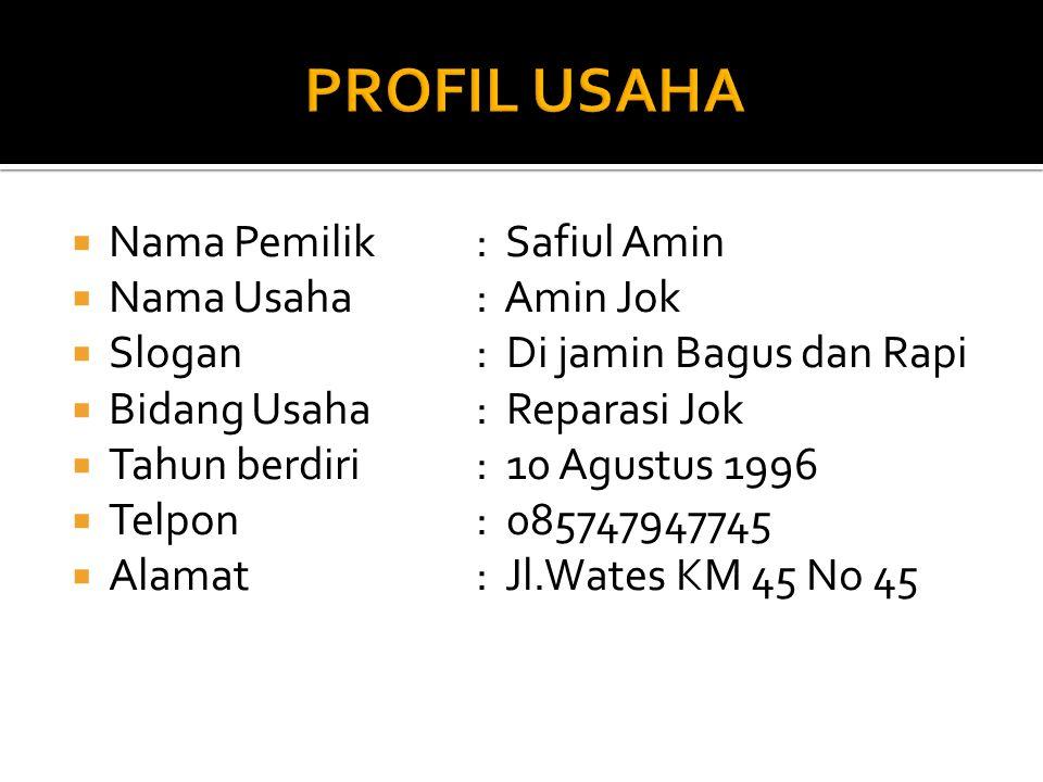 PROFIL USAHA Nama Pemilik : Safiul Amin Nama Usaha : Amin Jok