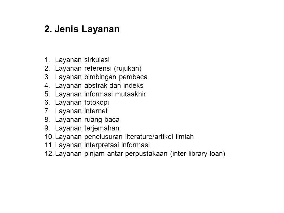 2. Jenis Layanan Layanan sirkulasi Layanan referensi (rujukan)
